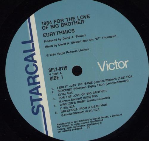 Eurythmics 1984 (For The Love Of Big Brother) vinyl LP album (LP record) Australian EURLPFO671068