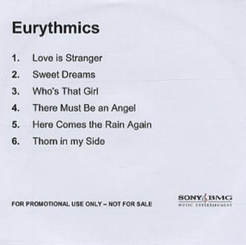 Eurythmics 6 Tracks CD-R acetate UK EURCRTR342174