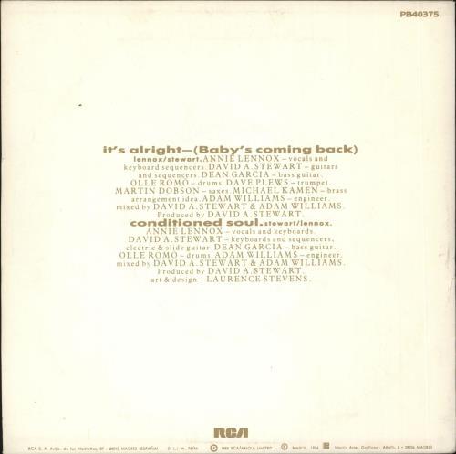 "Eurythmics Está Bien (Mi Amor Volverá) 7"" vinyl single (7 inch record) Spanish EUR07IT191148"