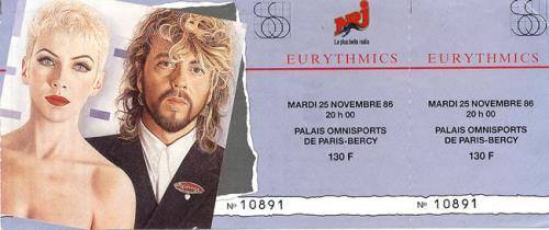 Eurythmics Revenge Tour '86 concert ticket French EURTIRE482254