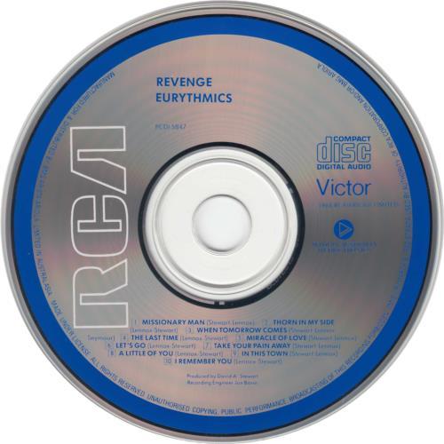 Eurythmics Revenge CD album (CDLP) Australian EURCDRE655935