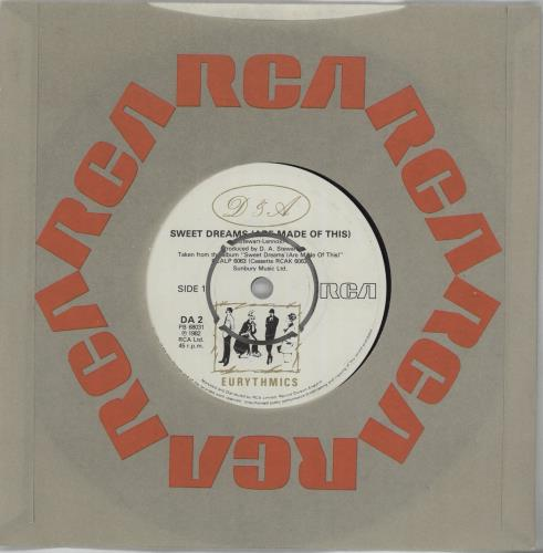 """Eurythmics Sweet Dreams (Are Made Of This) - 4prong 7"""" vinyl single (7 inch record) UK EUR07SW667952"""