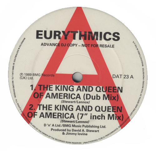"""Eurythmics The King And Queen Of America 12"""" vinyl single (12 inch record / Maxi-single) UK EUR12TH13619"""