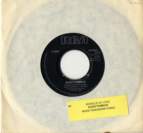 "Eurythmics The Miracle Of Love - Juke Box 7"" vinyl single (7 inch record) UK EUR07TH600758"
