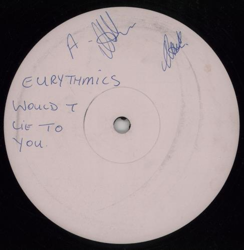 """Eurythmics Would I Lie To You - Pink Label + Press Release 12"""" vinyl single (12 inch record / Maxi-single) UK EUR12WO757421"""