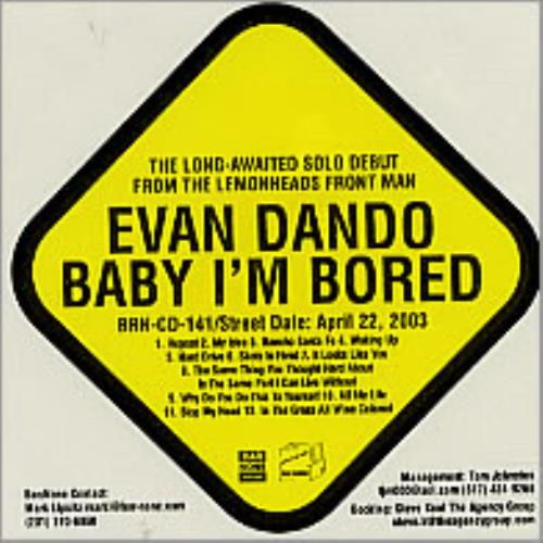Evan Dando Baby I'm Bored CD album (CDLP) US EVOCDBA238922
