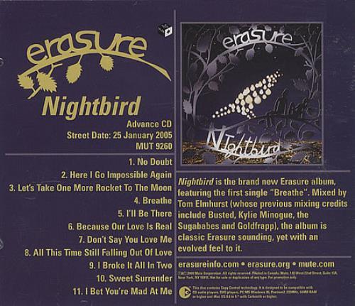 Erasure Nightbird CD album (CDLP) US ERACDNI320128