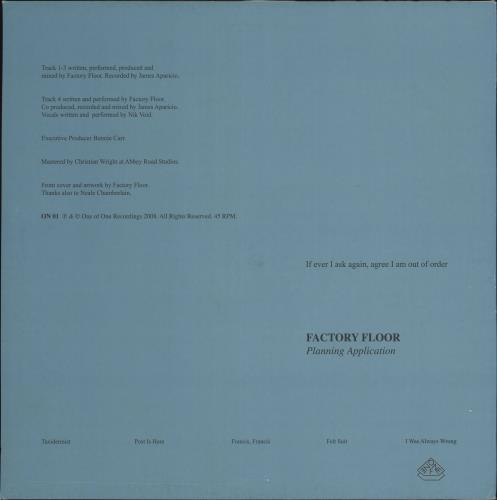 "Factory Floor Planning Application 12"" vinyl single (12 inch record / Maxi-single) UK H5612PL722268"
