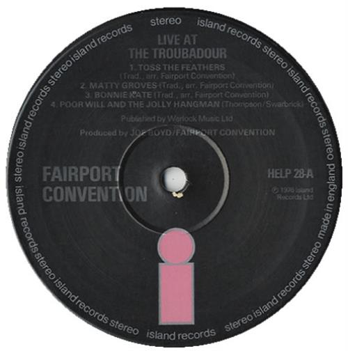Fairport Convention Live At The L.A. Troubadour vinyl LP album (LP record) UK F-CLPLI136691