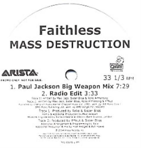 "Faithless Mass Destruction 12"" vinyl single (12 inch record / Maxi-single) US FTL12MA313413"