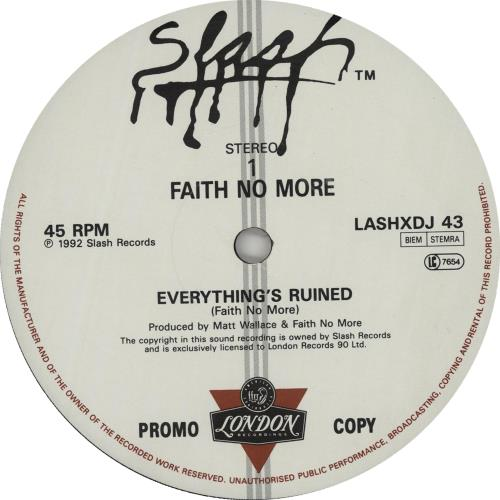 "Faith No More Everythings Ruined 12"" vinyl single (12 inch record / Maxi-single) UK FNM12EV104285"