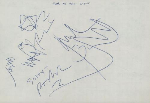 Faith No More Set of Autographs memorabilia UK FNMMMSE659063