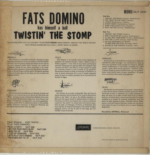 Fats Domino Twistin' The Stomp vinyl LP album (LP record) UK FTDLPTW676898