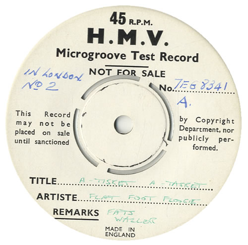 """Fats Waller Fats Waller In London (No.2) EP - Test Pressing 7"""" vinyl single (7 inch record) UK FTW07FA550548"""