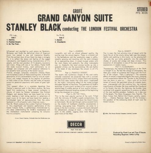 Ferde Grofé Grand Canyon Suite vinyl LP album (LP record) UK FEGLPGR719023