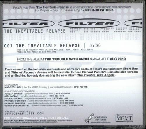 """Filter The Inevitable Relapse CD single (CD5 / 5"""") US FILC5TH524855"""
