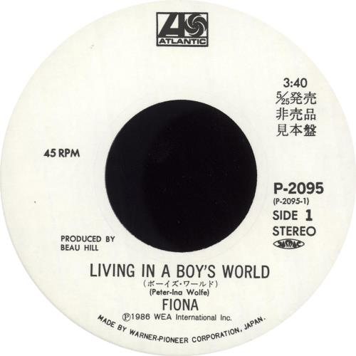 "Fiona Living In A Boy's World 7"" vinyl single (7 inch record) Japanese FNA07LI118748"