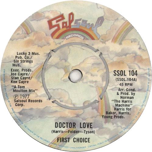 """First Choice Doctor Love 7"""" vinyl single (7 inch record) UK FCH07DO743630"""