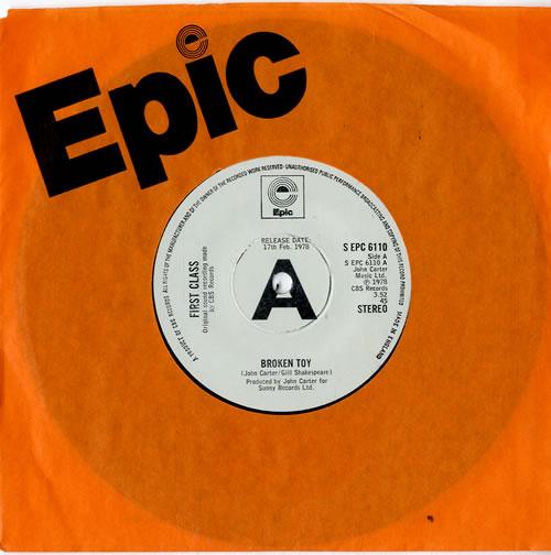 "First Class Broken Toy 7"" vinyl single (7 inch record) UK FNX07BR594729"