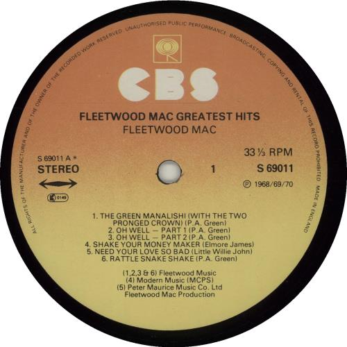 Fleetwood Mac Greatest Hits 2nd Uk Vinyl Lp Album Lp
