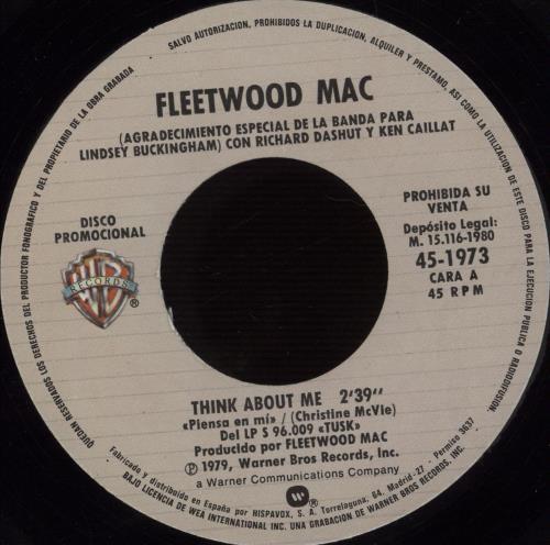 "Fleetwood Mac Think About It + Sleeve 7"" vinyl single (7 inch record) Spanish MAC07TH666329"