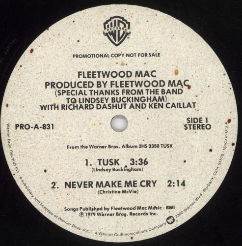 "Fleetwood Mac Tusk 12"" vinyl single (12 inch record / Maxi-single) US MAC12TU742287"