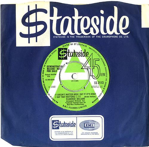 "Florence Ballard It Doesn't Matter How I Say It - A Label 7"" vinyl single (7 inch record) UK FB107IT591246"