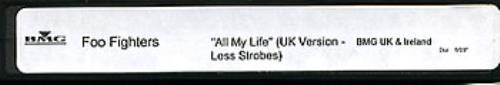 Foo Fighters All My Life (UK Version - Less Strobes) video (VHS or PAL or NTSC) UK FOOVIAL227668