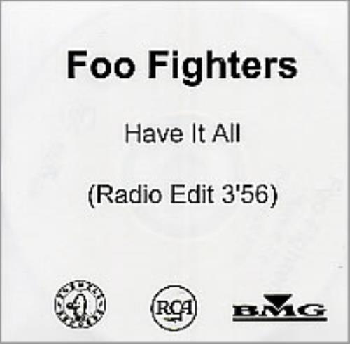 Foo Fighters Have It All CD-R acetate UK FOOCRHA256215
