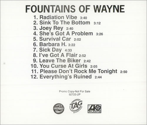 Fountains Of Wayne Fountains Of Wayne CD album (CDLP) US FOWCDFO506857