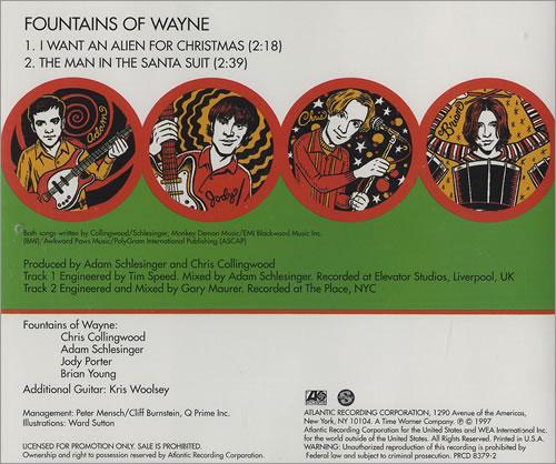 "Fountains Of Wayne I Want An Alien For Christmas CD single (CD5 / 5"") US FOWC5IW283310"
