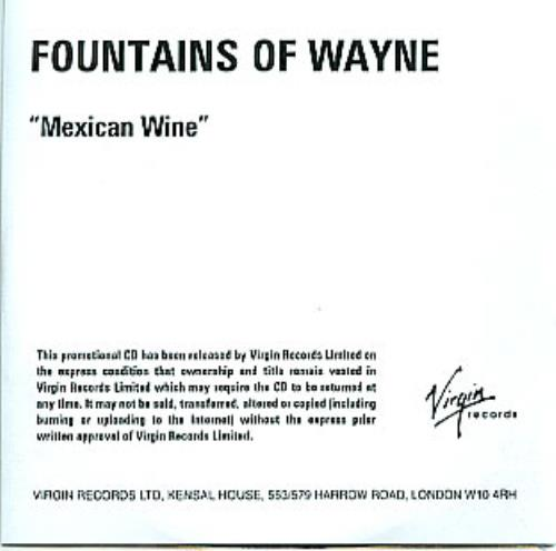Fountains Of Wayne Mexican Wine CD-R acetate UK FOWCRME284994