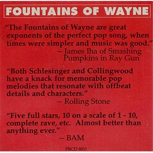 "Fountains Of Wayne Sink To The Bottom CD single (CD5 / 5"") US FOWC5SI409013"