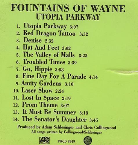 Fountains Of Wayne Utopia Parkway CD album (CDLP) US FOWCDUT410698