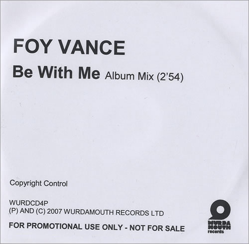 Foy Vance Be With Me CD-R acetate UK FO4CRBE472336