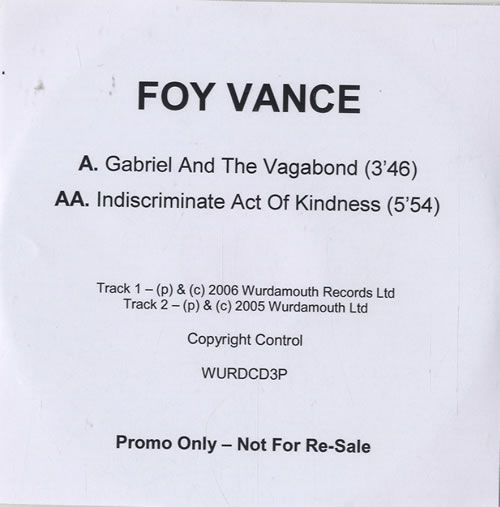 Foy Vance Gabriel And The Vagabond CD-R acetate UK FO4CRGA478404
