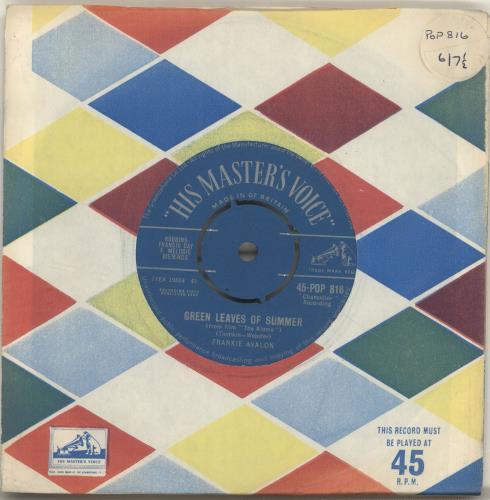 """Frankie Avalon Green Leaves Of Summer 7"""" vinyl single (7 inch record) UK AV407GR570418"""
