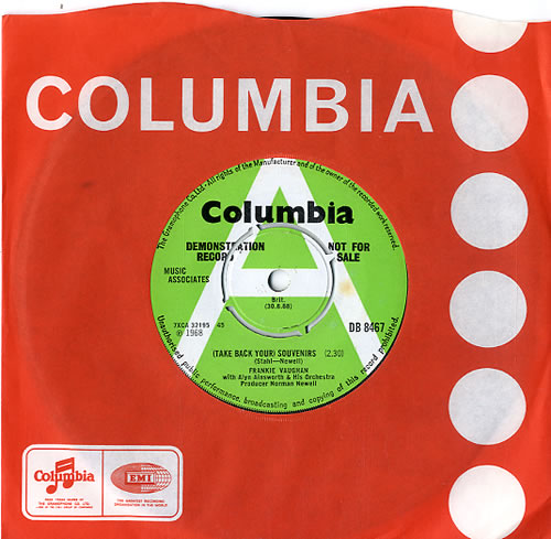 "Frankie Vaughan (Take Back Your) Souvenirs - A Label 7"" vinyl single (7 inch record) UK KVU07TA588731"