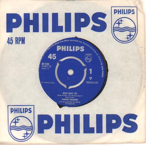 "Frankie Vaughan Alley Alley Oh 7"" vinyl single (7 inch record) UK KVU07AL663704"