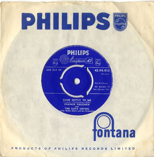"""Frankie Vaughan Come Softly To Me 7"""" vinyl single (7 inch record) UK KVU07CO615329"""