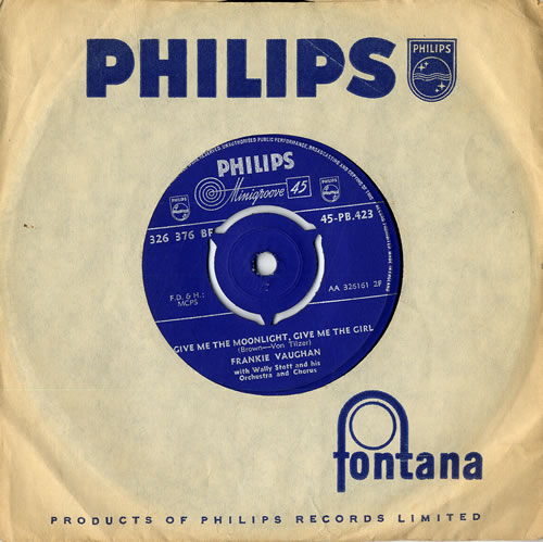 "Frankie Vaughan Give Me The Moonlight, Give Me The Girl 7"" vinyl single (7 inch record) UK KVU07GI555947"