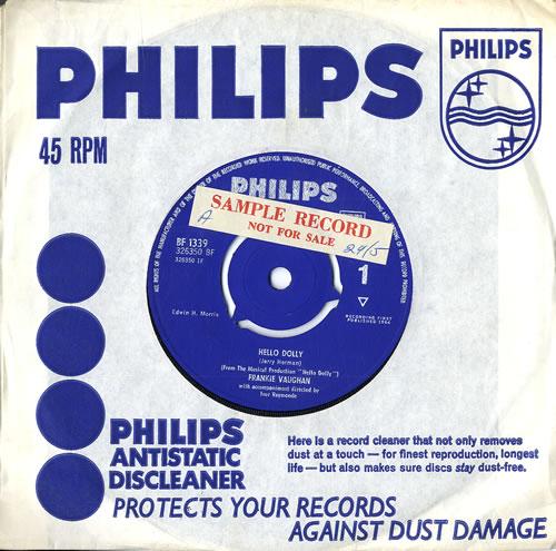 "Frankie Vaughan Hello Dolly - Sample 7"" vinyl single (7 inch record) UK KVU07HE552794"