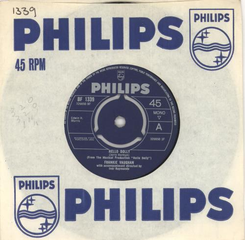 "Frankie Vaughan Hello Dolly 7"" vinyl single (7 inch record) UK KVU07HE491392"