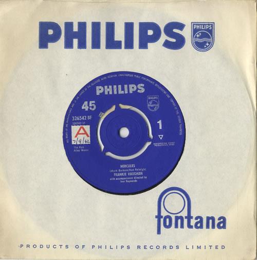 "Frankie Vaughan Hercules - Sample 7"" vinyl single (7 inch record) UK KVU07HE471037"