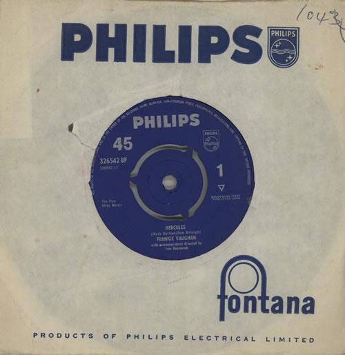 "Frankie Vaughan Hercules 7"" vinyl single (7 inch record) UK KVU07HE573974"
