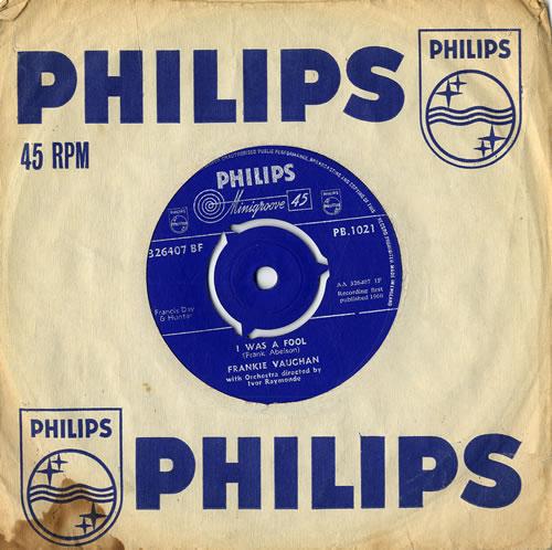 "Frankie Vaughan I Was A Fool 7"" vinyl single (7 inch record) UK KVU07IW555946"