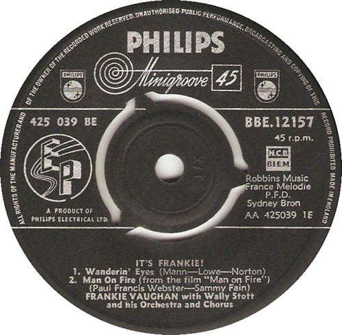 "Frankie Vaughan It's Frankie! 7"" vinyl single (7 inch record) UK KVU07IT625615"