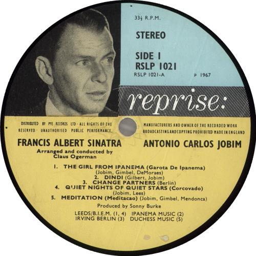 Frank Sinatra Francis Albert Sinatra & Antonio Carlos Jobim vinyl LP album (LP record) UK FRSLPFR331415