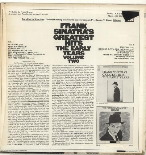 Frank Sinatra Greatest Hits - The Early Years - Vol. II vinyl LP album (LP record) US FRSLPGR689927
