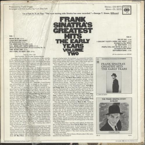Frank Sinatra Greatest Hits - The Early Years Volume 2 vinyl LP album (LP record) US FRSLPGR730850